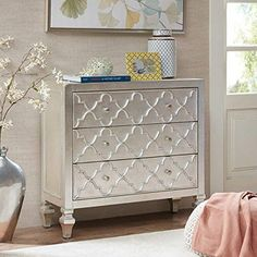 Madison Park Somerset Storage Chest - Wood, Metal Living Room Storage - Antique Silver, Carved Ogee Pattern, Modern Style Dresser Chest - 1 Piece 3 Drawer Chest For Bedroom