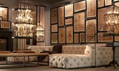 Oversized birdcage chandelier from restoration hardware looks amazing in this style. Note the architectural drawings, light and the tufted sofa. Decor, Renovation Design, Restoration Hardware, Home And Living, Birdcage Chandelier, Interior, Chic Living Room, Tufted Sofa, Room