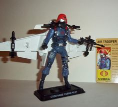 gi joe COBRA CLAW with COBRA PILOT trooper 25th anniversary fang completeaction figure for sale in online toy store to buy now.