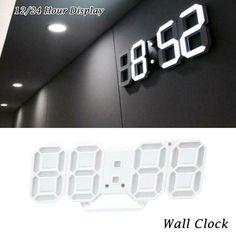 Digital 3D LED Wall Clock Alarm Snooze Watch 12/24 Hour Display USB Modern