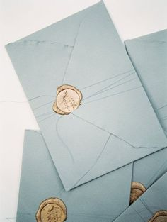 Blue Envelopes for Wedding Invitations with Gold Wax Seals Beach Wedding Invitations, Wedding Stationary, Invites, Event Invitations, Invitation Envelopes, Invitation Wording, Dream Wedding, Wedding Day, Wedding Venues