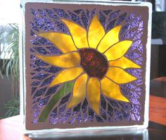 Sunflower Lighted Glass Block mosaic garden by GlassPizazz on Etsy, $45.00