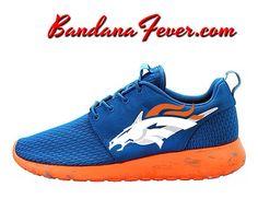 """Bandana Fever - Nike """"Broncos"""" Roshe Run Men's Military Blue/White by Bandana Fever, $174.99 (http://www.bandanafever.com/nike-broncos-roshe-run-mens-military-blue-white-by-bandana-fever/)"""
