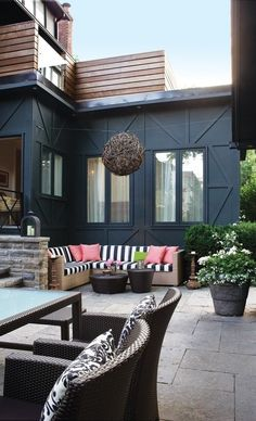 Stylish Outdoor Living Room An unused driveway is transformed into a patio. I love the bold colors and pattern Outdoor Rooms, Outdoor Living, Outdoor Decor, Outdoor Couch, Outdoor Lounge, Outdoor Seating, Backyard Seating, Lounge Seating, Outdoor Cushions
