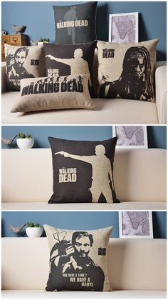 I am LOVING this collection of 'The Walking Dead' pillows. These would look really great in a college dorm room.