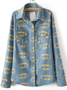 chambray + batman = probably the best shirt EVER