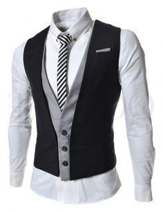 Pánská společenská vesta - černo - šedá