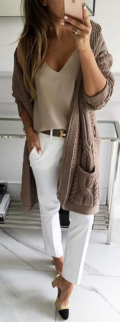 #winter #outfits cárdigan marrón