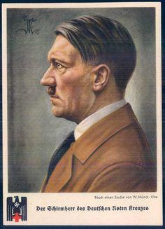 """Artist drawn card, """"Adolf Hitler, Schirmherr des Deutschen Roten Kreuzes"""", publisher """"Die neue Scholle"""", Berlin, with special postmark"""
