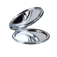 Silver compact mirror, complete with protective pouch.