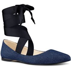 Nine West Samara Interchangeable Ribbon Flats ($79) ❤ liked on Polyvore featuring shoes, flats, navy denim, navy blue ballet flats, leather shoes, ballet shoes, bow flats and ballet pumps