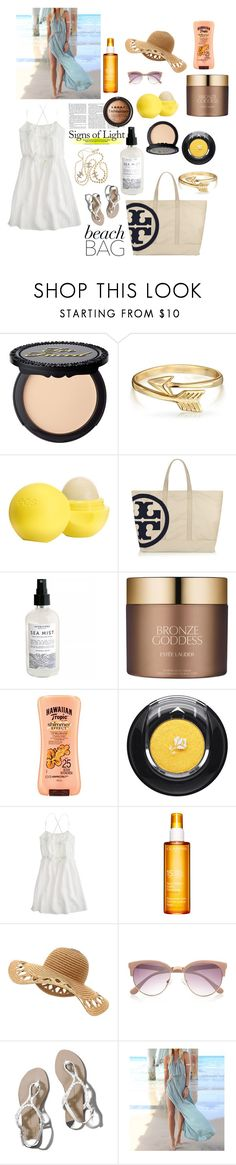 """""""beach bag"""" by lushxoxo ❤ liked on Polyvore featuring Bling Jewelry, Eos, Tory Burch, Estée Lauder, LORAC, Hawaiian Tropic, Lancôme, J.Crew, Clarins and River Island"""