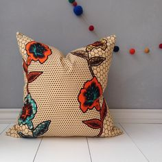 African Print Pillow Cover 18 x 18 Home Decor by JuneThirty