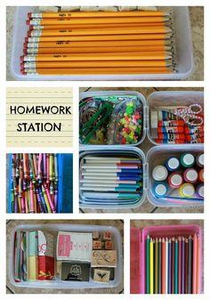 How to create a HOMEWORK STATION. www.bddesignblog.com #organization #school