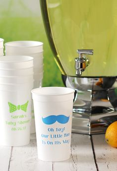 Serve baby shower guests punch and drinks in reusable, personalized cups.  Best part? Your guests can take them home as shower souvenirs afterwards. These favors are custom printed to order and look fabulous displayed next to a drink station or buffet.  Have a baby design like the mustache and bowtie one shown printed along with your name and a thank you message. Available in 4 sizes. These cups can be ordered at http://www.tippytoad.com/personalized-baby-shower-stadium-cups.asp