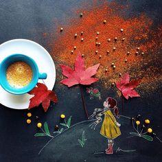 Interesting Art Creativity while coffee time by Italian Artist Cinzia Bolognesi Coffee Illustration, Illustration Art, Art Cafe, Coffee World, Coffee Photography, My Cup Of Tea, I Love Coffee, Coffee Cafe, Kakao