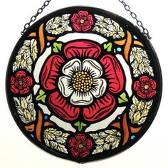 Decorative Hand Painted Stained Glass Window Sun Catcher/Roundel in a Medieval Tudor Rose Design. Stained Glass Tattoo, Stained Glass Paint, Stained Glass Church, Stained Glass Windows, Rose Tudor, Tudor Rose Tattoos, Wine Bottle Wall, Wine Bottles, Mandala Rose