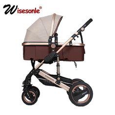 Wisesonle baby stroller 2 in 1 stroller lie or damping folding lightweight Two-way