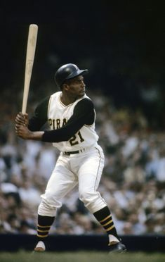 Roberto Clemente (18 Aug. 1934 - 31 Dec. 1972) was a Puerto Rican professional baseball player, spending 18 MLB seasons playing right fielder for the Pittsburgh Pirates. The first Latino & Caribbean to be inducted into the Hall of Fame. Was well known for major charity work & activism for Latinx, Latin-American, Hispanic, & Caribbean people.