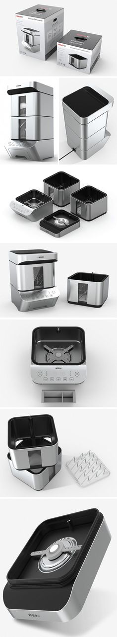 The One-Person Household Dishwasher is exactly what it says on the tin, a dishwasher for one. Its compact size allows it to comfortably sit on the countertop without taking up too much valuable space. It carries a sleek form that was inspired by that of a Dumpling Steamer, and the brushed stainless-steel finish gives a sense of quality.