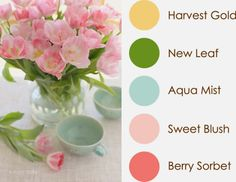 April 2014 Color Play (harvest gold, new leaf, aqua mist, sweet blush, berry sorbet)