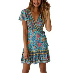 d94b7ccdf8f HongMong Women Clothing Holiday Fashion V Neck Boho Floral Party Evening  Beach Short Mini Dress Sundress