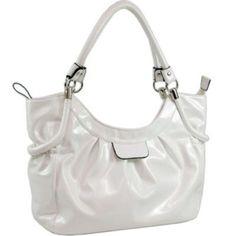 Soft Designer Inspired Drawstring Shoulder Bag White