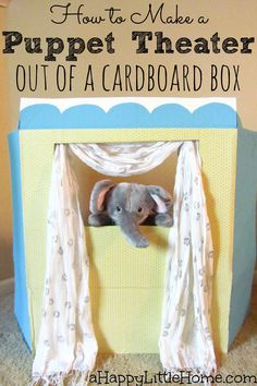 Learn how to make a puppet theater out of a cardboard box! This DIY puppet theater is such an inexpensive project using things you likely already have at home. When you're done putting on puppet shows, it folds flat to store.  This could also be done with a trifold board.  I need to make this puppet theater so we can put on a little puppet show for family fun!