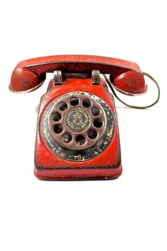 Old Red Toy Phone by CityGirlAntiques on Etsy