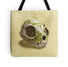 cat skull painted with wasabi flowers