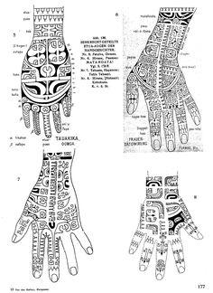 Handornamentik der Naturvölker l Difficulty: ** (*/**/***) l by Doris Kaufmann Polynesian Tattoo Meanings, Filipino Tribal Tattoos, Hawaiian Tribal Tattoos, Polynesian Art, Hawaiianisches Tattoo, Samoan Tattoo, Body Art Tattoos, Hand Tattoos, Thai Tattoo