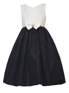 Amazon.com: Rare Editions TWEEN GIRLS 7-16 BLACK IVORY BOW FRONT JEWEL WAISTLINE CRINKLE SKIRT Special Occasion Wedding Flower Girl Party Dress: Clothing