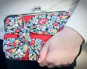 Red Clutch with Floral Knot Detail