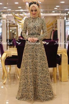 Minel Aşk Zümrüt Rana Tesettür Abiye Elbise