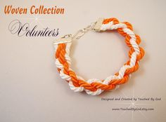 Bracelet Woven Cord Jewelry / Collegiate Football Sports / Big Orange Volunteers / University of Tennessee / Silver Plated / This is a simple 4-strand braided bracelet. Two strands are orange and two strands are white. They are braided together to make this fabulous Volunteer bracelet. This piece will make a great gift for any woman in your life - especially for a University of Tennessee fan! Visit my shop at www.TouchedByGod.etsy.com!