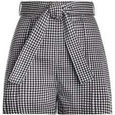 ZIMMERMANN Paradiso Gingham Drill Shorts (13.385 RUB) ❤ liked on Polyvore featuring shorts, bottoms, pants, short, tie belt, back zip shorts, zimmermann, summer shorts and summer high waisted shorts