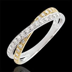 Alliance Saturne Duo double diamant - or jaune et or blanc - 9 carats : bijoux Edenly