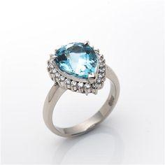 Vintage Estate Jewellery Aquamarine & Diamond Ring, Platinum