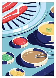 A Night Out in Seoul, a beautiful illustration series created by Coen Pohl. Coen Pohl is a Dutch freelance illustrator and graphic designer who lives and Food Graphic Design, Graphic Design Posters, Graphic Design Illustration, Graphic Design Inspiration, Korean Illustration, Digital Illustration, Korean Design, Korean Bbq, Guache