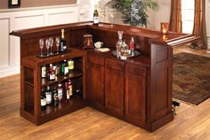 Paramount Cherry L-Shaped Home Bar from Hillsdale House