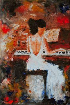 Laura Sauñe Oil Paintings: The Pianist