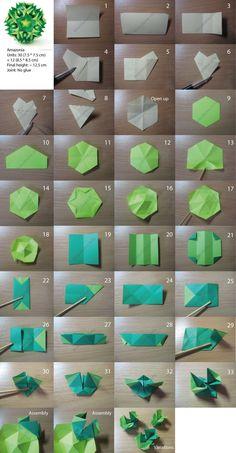 Amazonia kusudama. 12 & 30 unit varieties. Free pictorial.  #origami