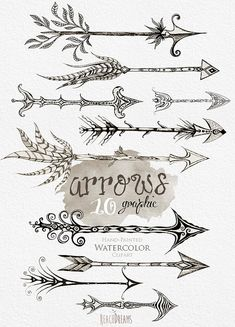 Arrows clipart. Hand Drawn Clip Art Tribal Arrows by ReachDreams