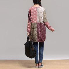 women dress cotton long loose blouse shirt long sleeve by Aolo