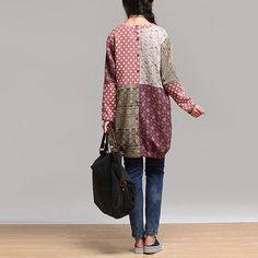 women dress cotton long loose blouse shirt long sleeve by Aolo