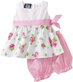 So La Vita Baby-girls Infant Rose Print Dot Yoke Dress $20.99