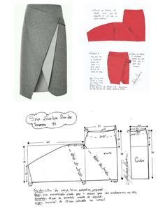 DIY – Molde, Corte e Costura – Schnittmuster Skirt Patterns Sewing, Clothing Patterns, Womens Skirt Pattern, Diy Clothing, Sewing Clothes, Fashion Sewing, Diy Fashion, Costura Fashion, Diy Kleidung