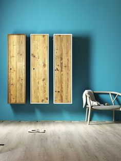 Wooden wall cabinet with door TOLA by Miniforms #turquoise @Miniforms