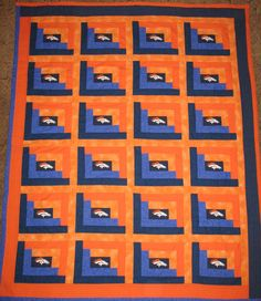 Handmade Bronco  Football Quilt by cckquilts on Etsy, $200.00