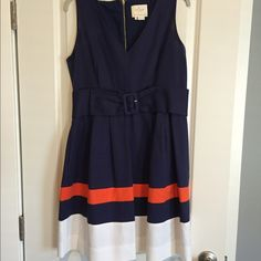 host pick Kate Spade dress. Worn once. Navy, orange and white with a navy belt. Exposed gold zipper. Worn once. Size 14. kate spade Dresses